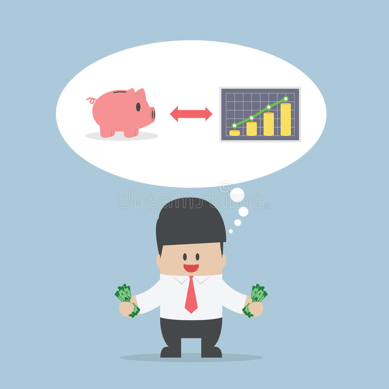 Businessman want to manage his money for saving and investing royalty free illustration