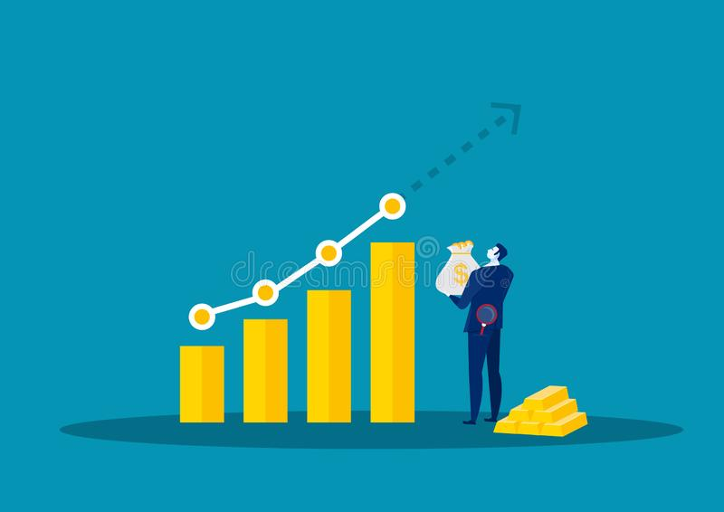 Businessman Watch graph for  Analyze growth Market Graph Chart Stock. Blue backgroound stock illustration