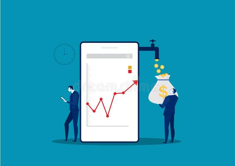 Businessman Watch Phone Analyze growth Market Graph Chart Stock . stock illustration