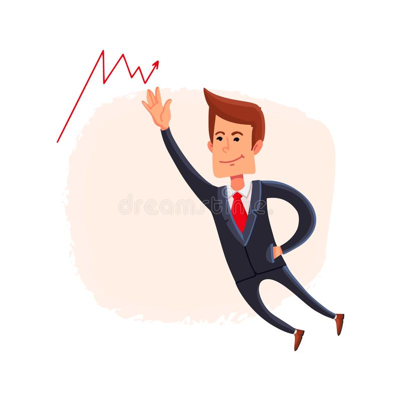 Businessman watches the arrow growing up. Growing market trend. Stock market. Vector. Businessman watches the arrow growing up. Growing market trend. Stock royalty free illustration