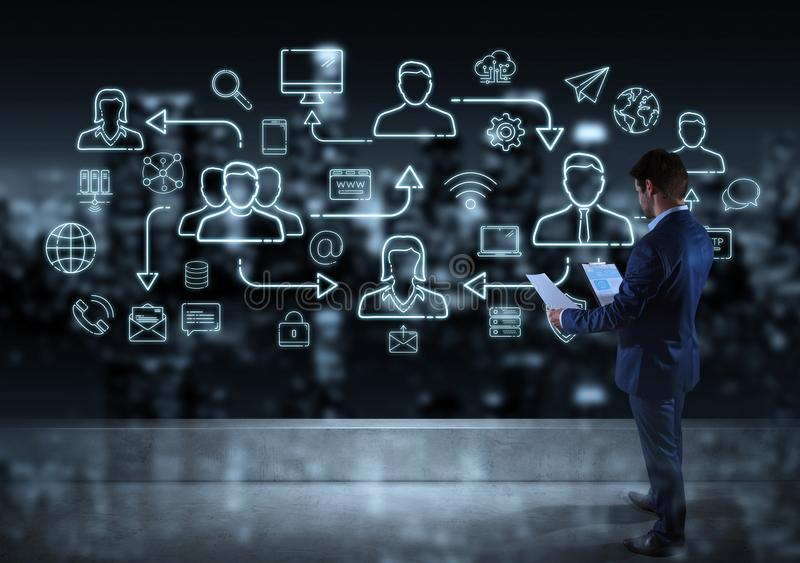 Businessman watching thin line social network icons interface. Businessman on top of building watching thin line social network icons interface royalty free illustration