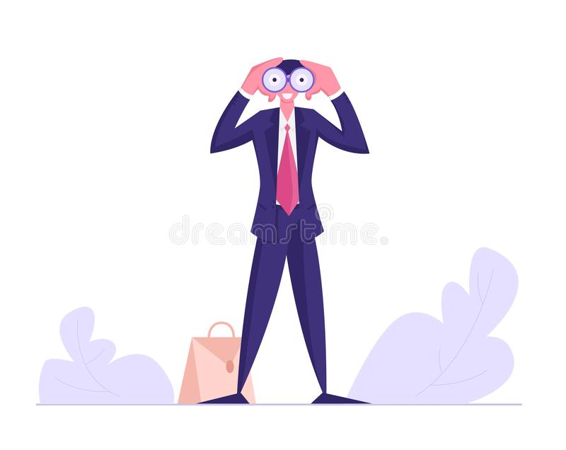 Businessman Watching to Binoculars, Business Vision, Recruitment Employee, Male Business Character Visionary Forecast vector illustration