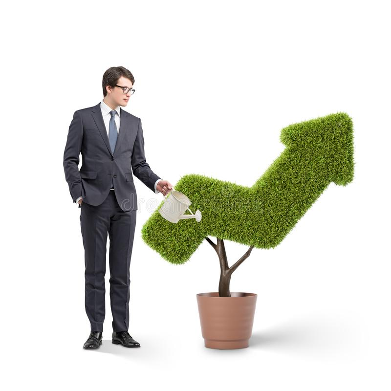 Businessman watering arrow shaped plant Investment stock photography