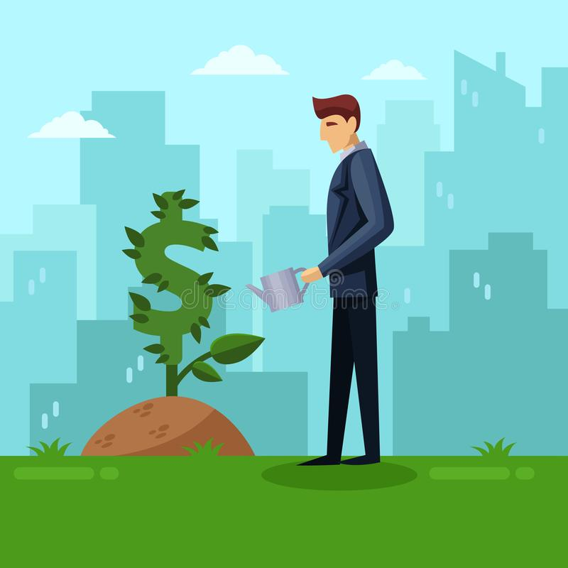 Businessman watering green dollar plant. Investment and finance growth business concept. Vector flat illustration. royalty free illustration