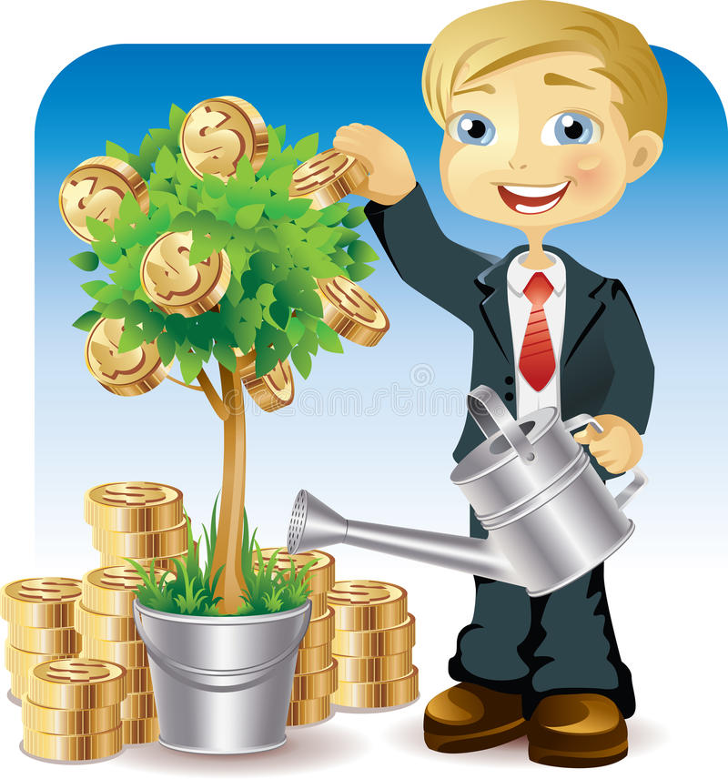Download Businessman Watering A Money Tree Stock Images - Image: 14775964