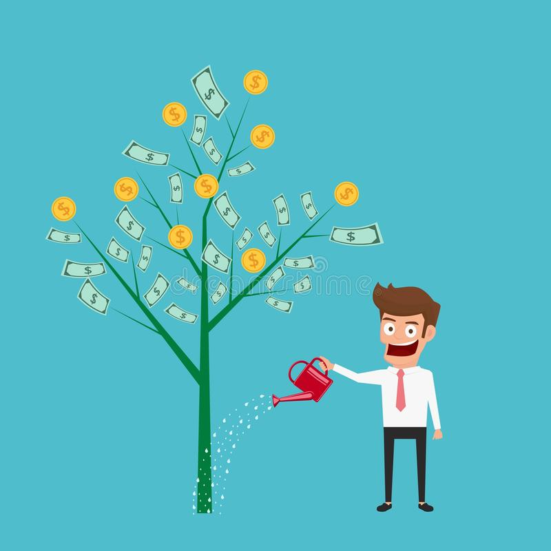 Businessman watering money tree. Money growth, making money, investment, financial concept. stock illustration