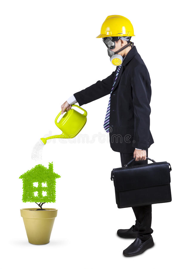 Businessman watering plant isolated 1 royalty free stock photos