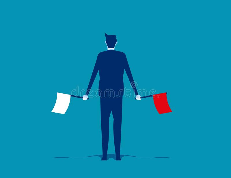 Businessman waving the flags. Concept business vector illustration. Flat design style stock illustration