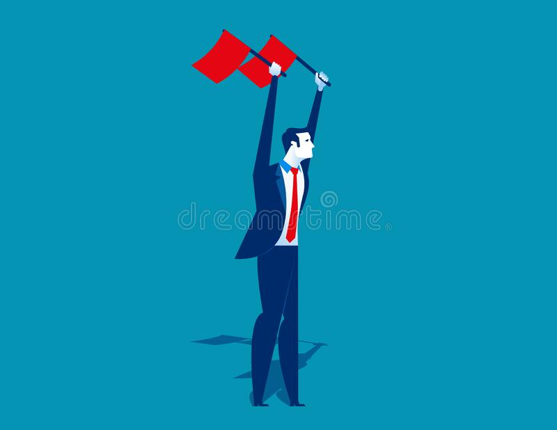 Businessman waving the flags. Concept business vector illustration. Flat design style vector illustration