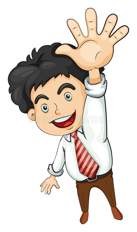 Download A businessman waving stock illustration. Illustration of casual - 34315728