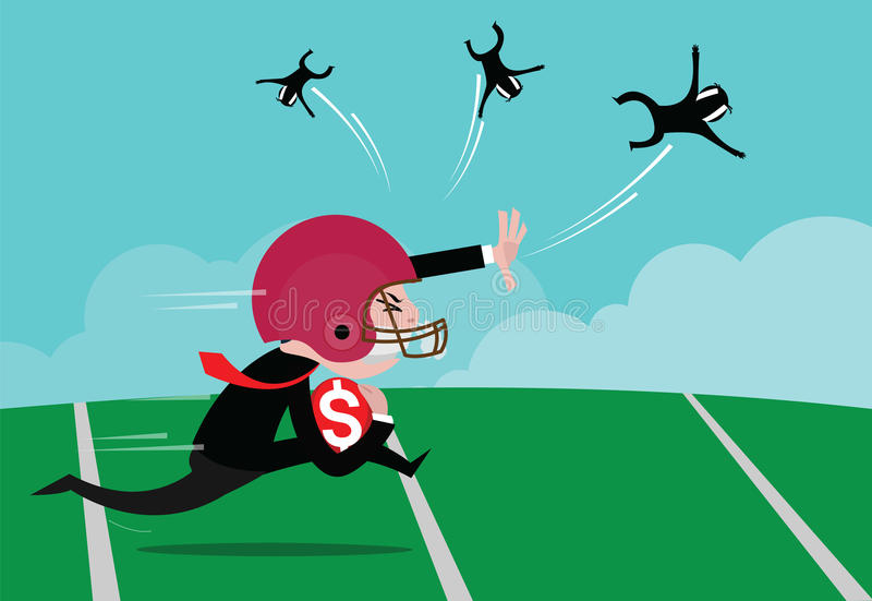 Businessman wearing American football. Helmets were running the ball, concept of business competition, vector cartoon stock illustration