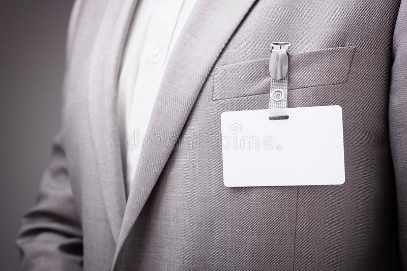 Businessman Wearing Blank Name Tag Stock Photo Image