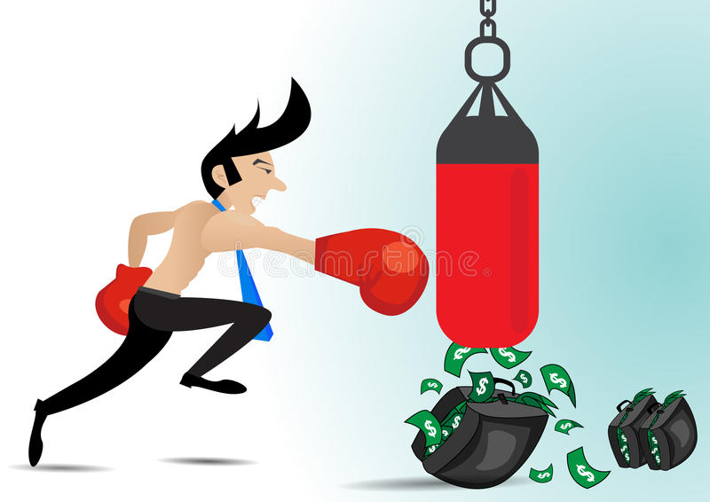 Businessman wearing boxing gloves and have money in punching the punch bag stock illustration