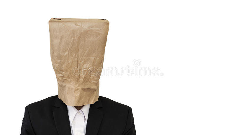 Businessman wearing brown paper bag, with copy space, isolated on white background stock images