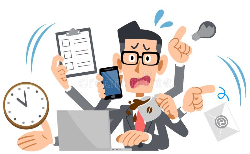 Businessman wearing eyeglasses panicking too busy vector illustration