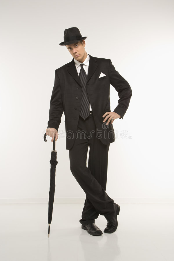 Businessman wearing fedora