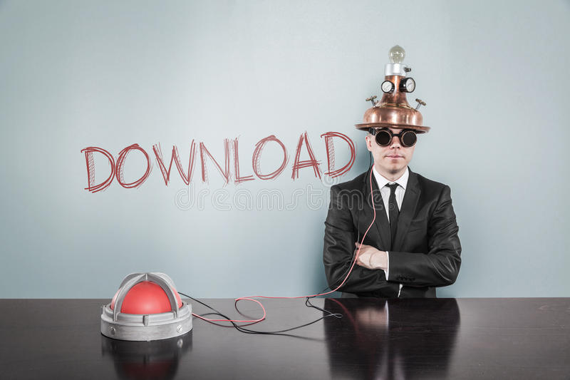 Businessman Wearing Futuristic Helmet By Download Text On Wall stock images
