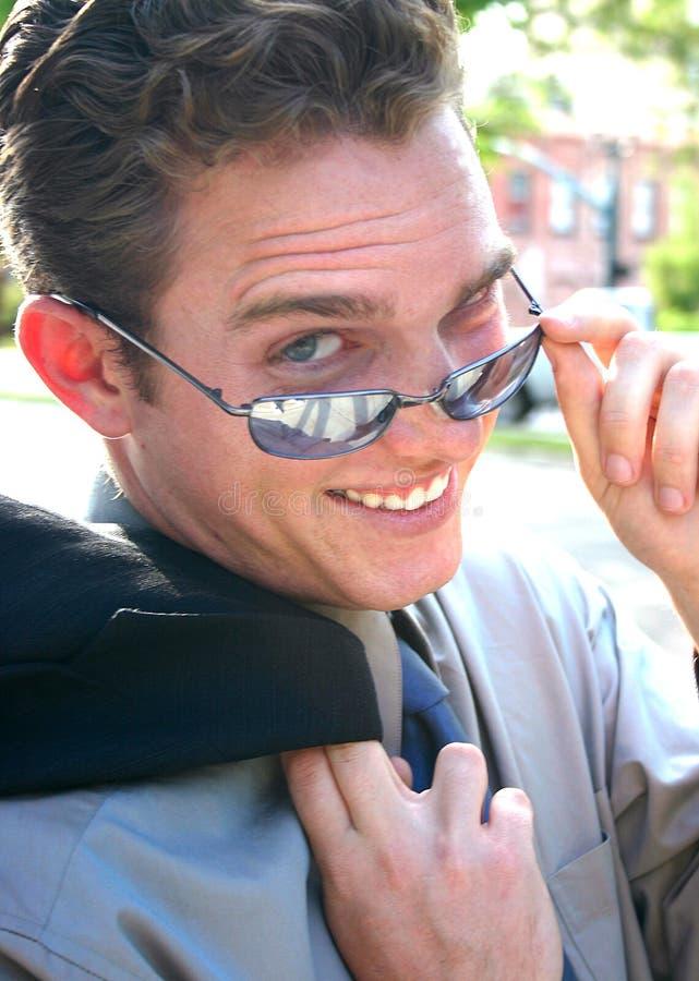 Businessman wearing sunglasses royalty free stock photos