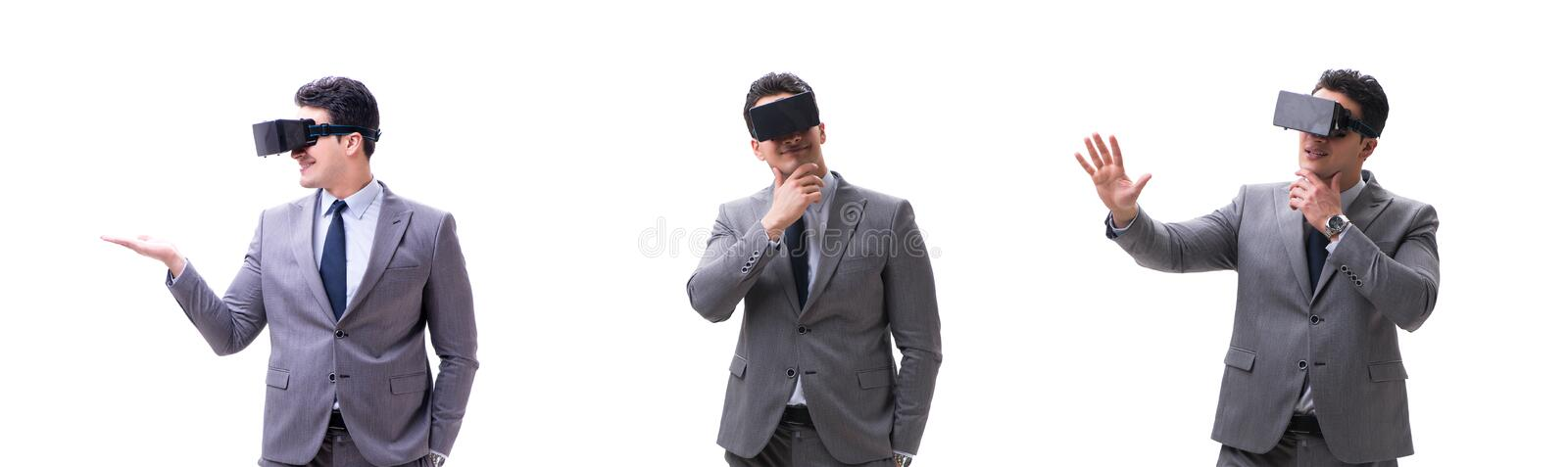 Businessman wearing virtual reality VR glasses isolated on white royalty free stock photos