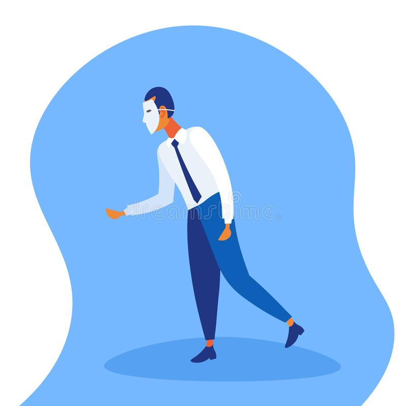 Businessman wearing white mask fraud concept faceless man handshake confident business strategy male cartoon character. Flat full length vector illustration vector illustration