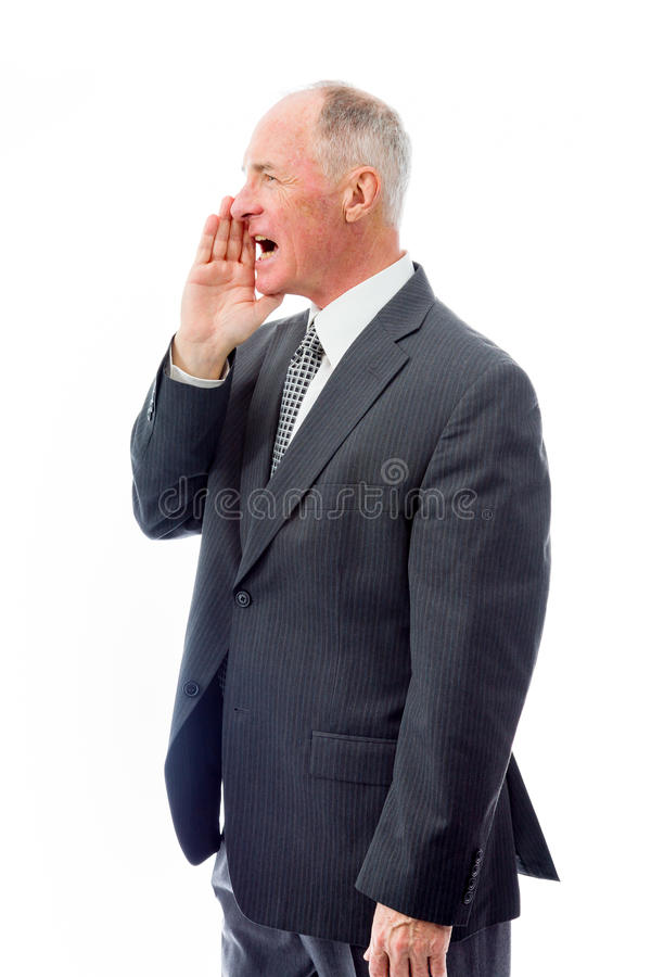 Businessman whispering royalty free stock images