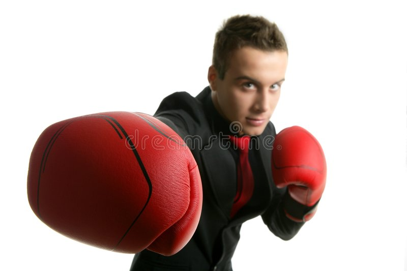 Download Businessman Whit Red Boxer Gloves Stock Photo - Image: 8822898