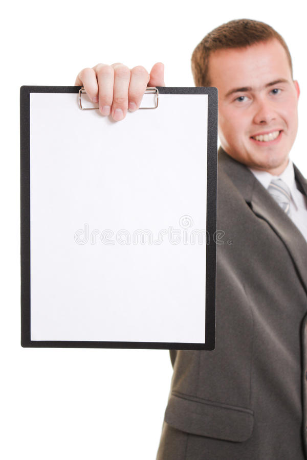 Download Businessman With A White Board In His Hands. Stock Photos - Image: 22620423