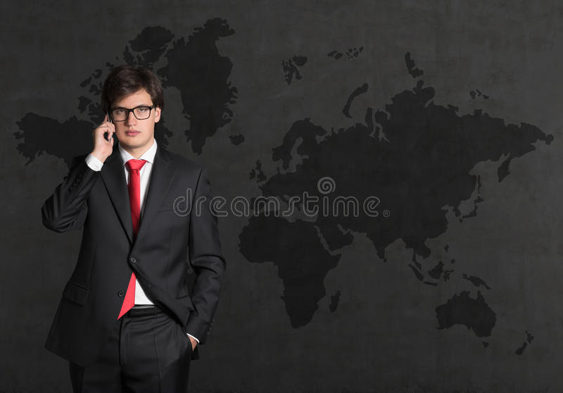 Businessman white phone royalty free stock images