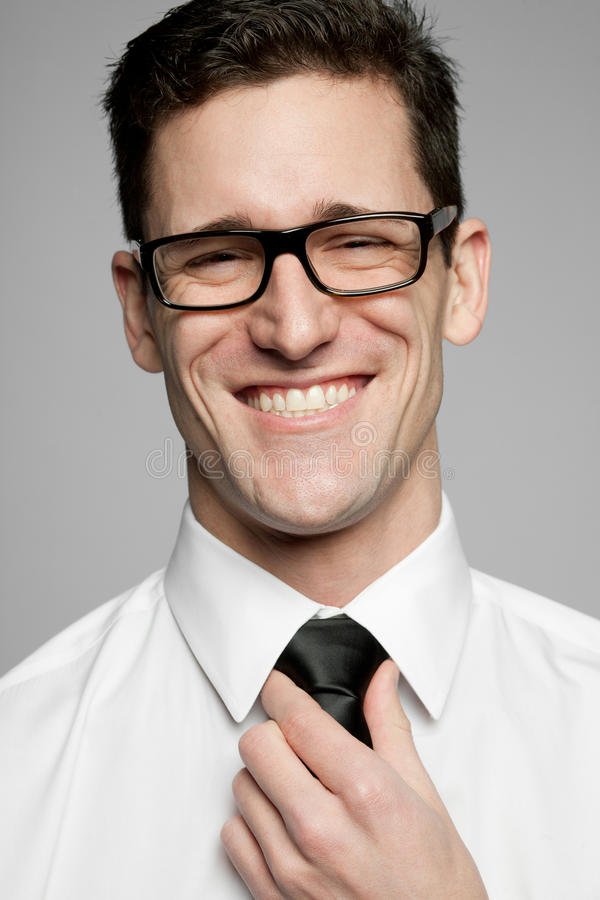 Download Businessman In White Shirt On Gray Background. Stock Image - Image: 23302521