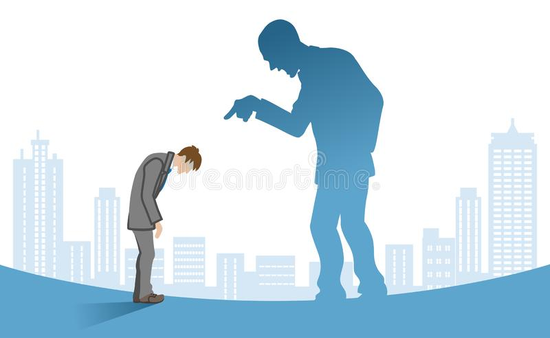 Businessman who is blamed by boss - Power Harassment concept art.  royalty free illustration