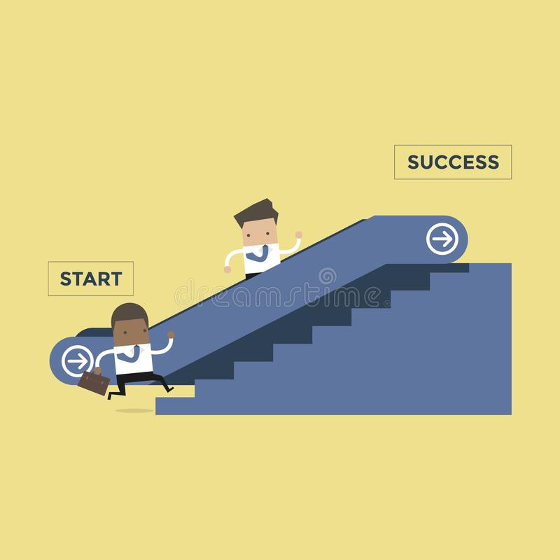 Businessman who going up to escalator to success and another man who is climbing the stairs. stock illustration