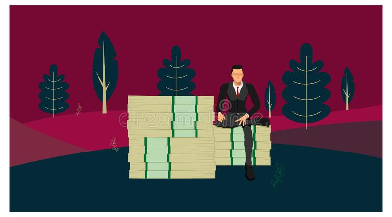 A businessman who sits on a giant pile of money with a pose of a rich man against a background of trees and fresh natural hills. royalty free illustration