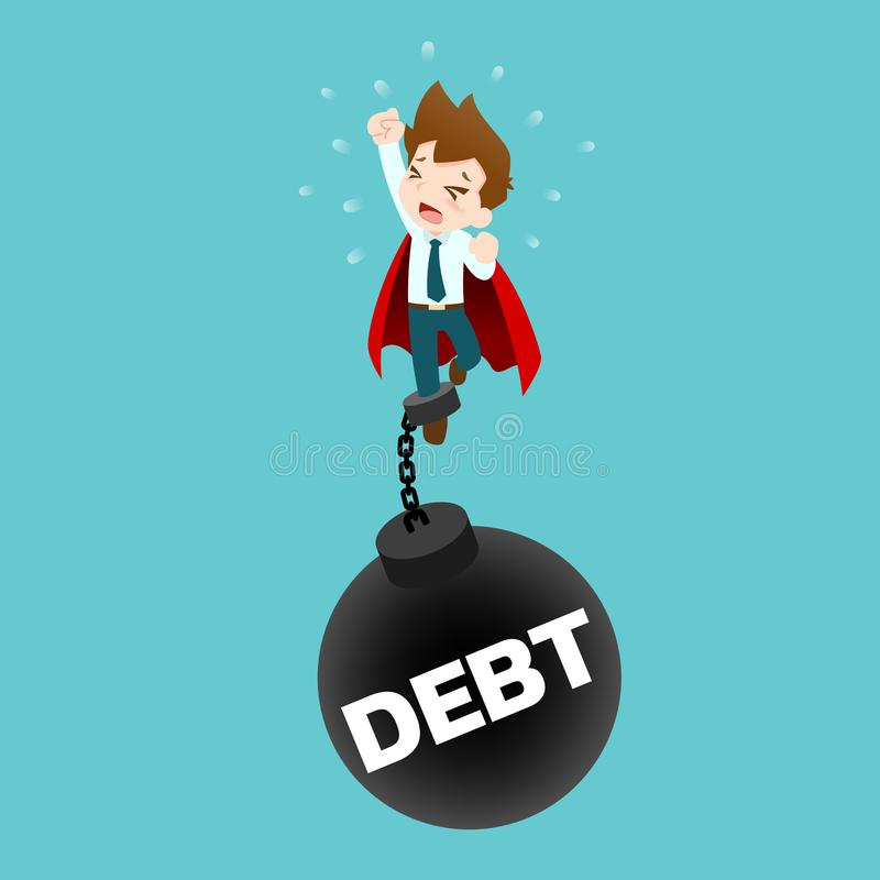 Businessman who wearing a red cape, try to fly up but couldn`t because he had been pull down by a huge pendulum steel in meaning stock illustration