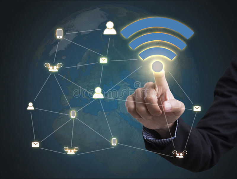 Businessman with wifi zone system icon. concept technology royalty free stock photo