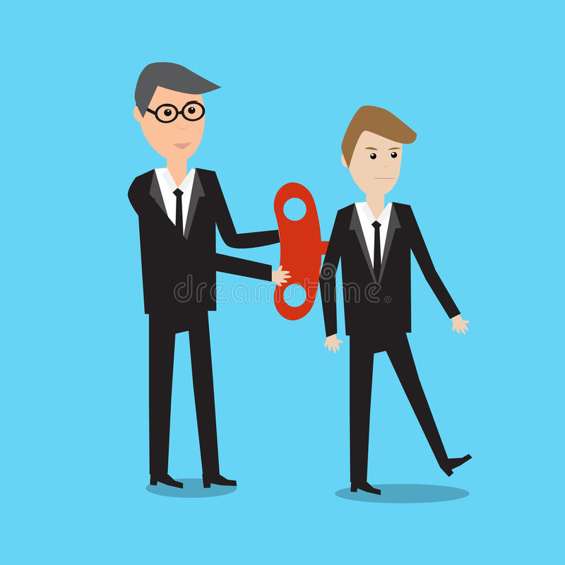 Businessman With Wind-up Key In His Back eps10 vector. illustra royalty free illustration