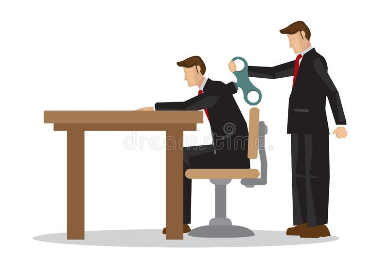 Businessman with winder in his back. Concept of weak worker, business mentorship or robot employee stock illustration
