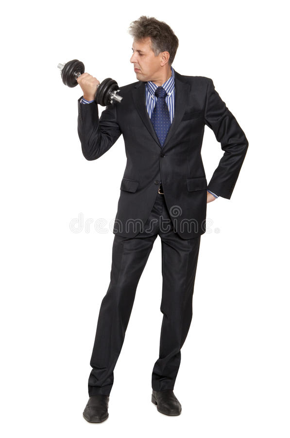 Free Businessman With Dumbbell Stock Image - 31585261