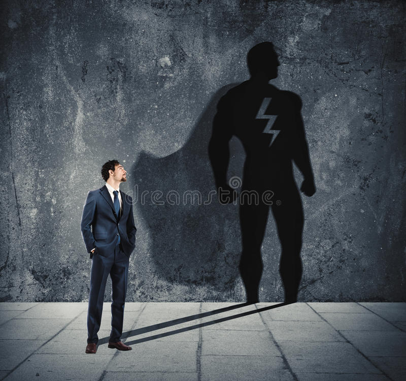Free Businessman With His Shadow Of Super Hero On The Wall. Concept Of Powerful Man Royalty Free Stock Photos - 97039048