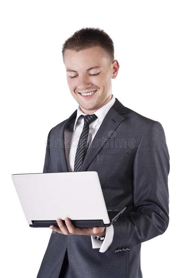 Free Businessman With Open Laptop In His Hands, Smile Royalty Free Stock Image - 23144746