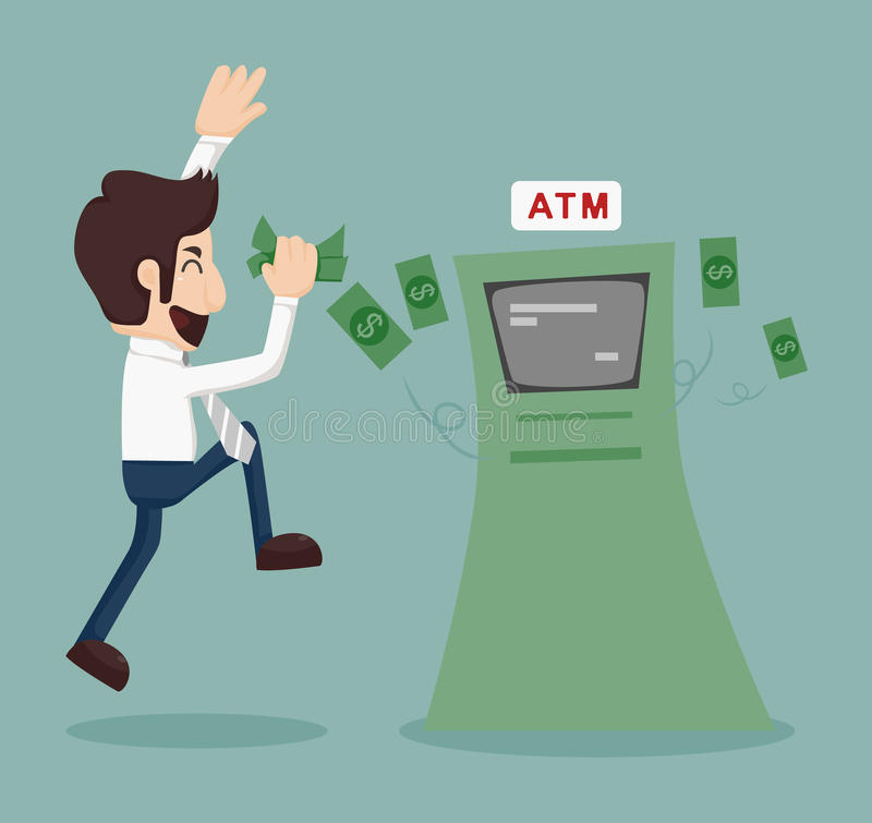 Free Businessman Withdrawing Money From ATM Stock Images - 42974494