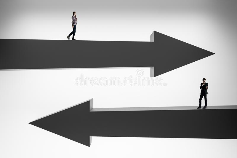 Businesspeople on black arrows. Businessman and woman on abstract black arrows. Choice, direction and success concept. 3D Rendering stock images