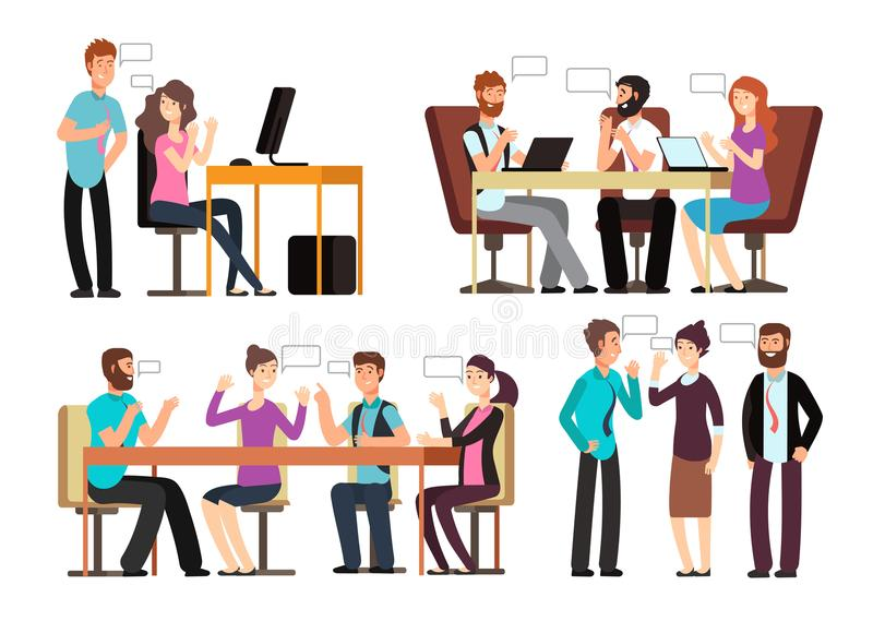 Businessman and woman have conversation in different business situations in office. People meeting vector characters set stock illustration