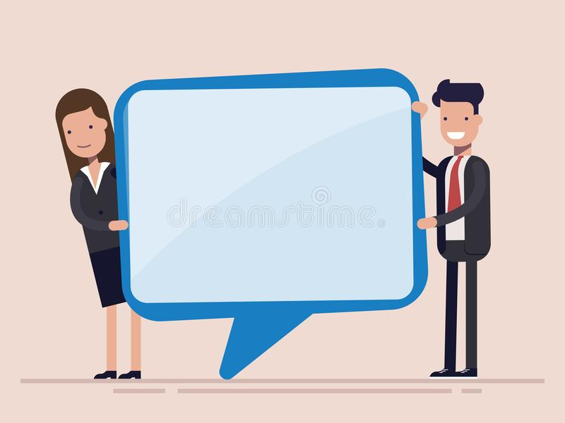 Businessman and woman hold speech bubble. Manager or worker. Flat vector illustration isolated. vector illustration
