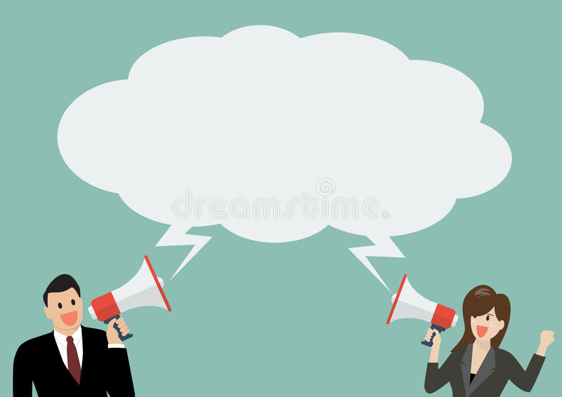 Businessman and woman holding a megaphone with bubble word vector illustration