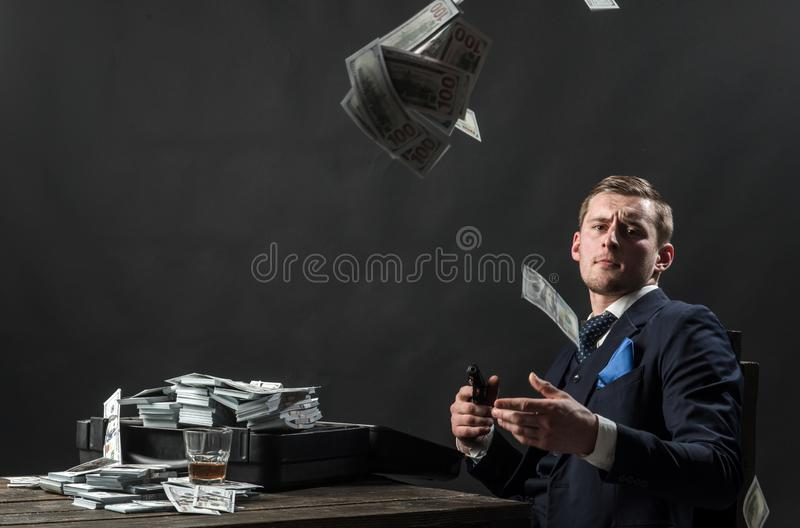 Businessman work in accountant office. Man in suit. Mafia. Making money. Economy and finance. Man bookkeeper. Money royalty free stock photos