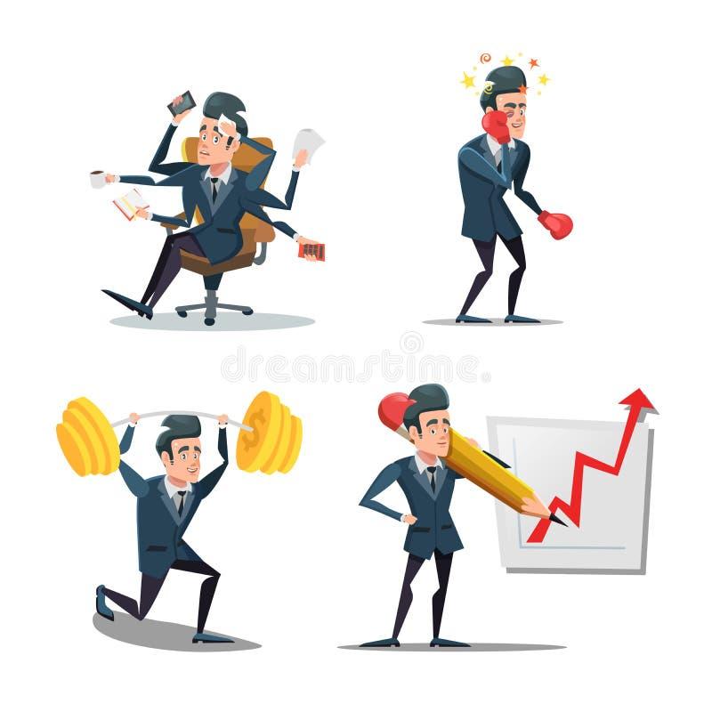 Businessman at Work. Business Planning vector illustration