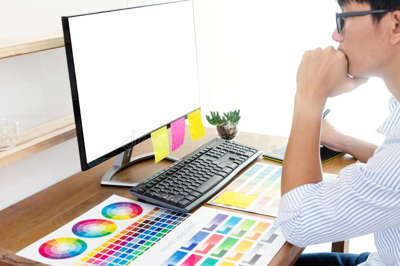 Businessman work with computer stock images
