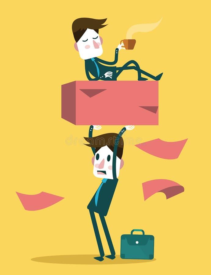 Businessman work hard alone. Exploit partner concept. stock illustration