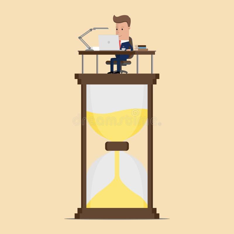 Businessman work hard at computer over big sand watch deadline concept. Vector Illustration stock illustration