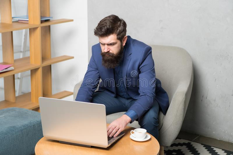 Businessman work laptop. Responding business email. Surfing internet. Project manager. Digital business. Financial. Consultation. Banker or accountant. Business stock image